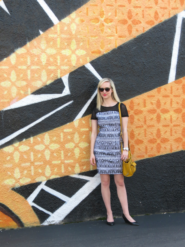 tribal print dress, yellow phillip lim for target bag, revlon matte unapologetic, indianapolis