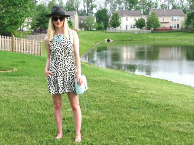 loft romper, polka dot romper, black panama hat, target statement flower bib, mint rebecca minkoff mac bag, oversized hepcat sunglasses