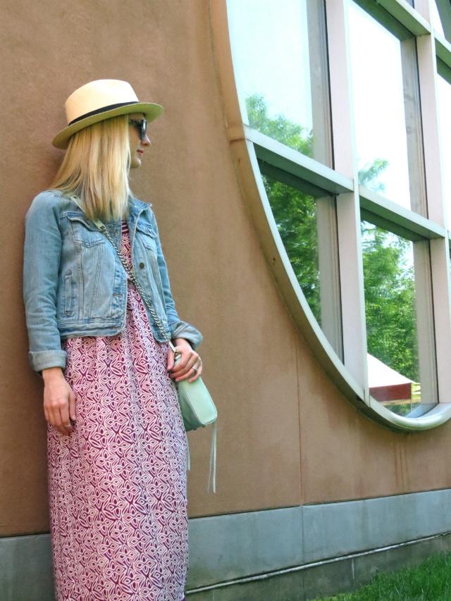 broad ripple art fair, maxi dress, jean jacket, j crew panama hat, mint rebecca minkoff bag, monogram necklace