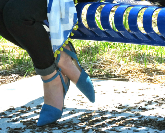 chevron pom pom scarf, blue suede shoemint flats, just cavalli aviators, indianapolis style blog