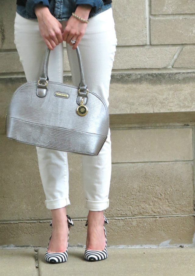 madewell chambray, white jeans, anne klein silver satchel, striped slingbacks, spike necklace