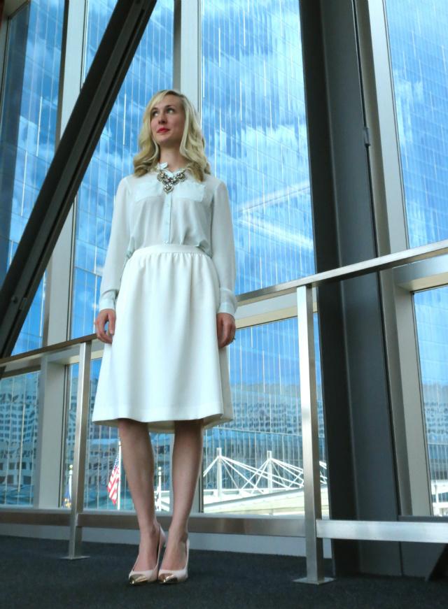 mint blouse, white midi skirt, cap toe pumps, h&m statement necklace, law school graduation outfit