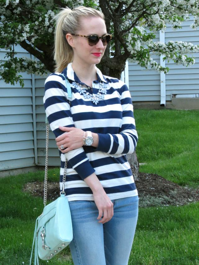 striped polo, j crew statement necklace, floral espadrilles, mint rebecca minkoff, revlon unapologetic matte lip