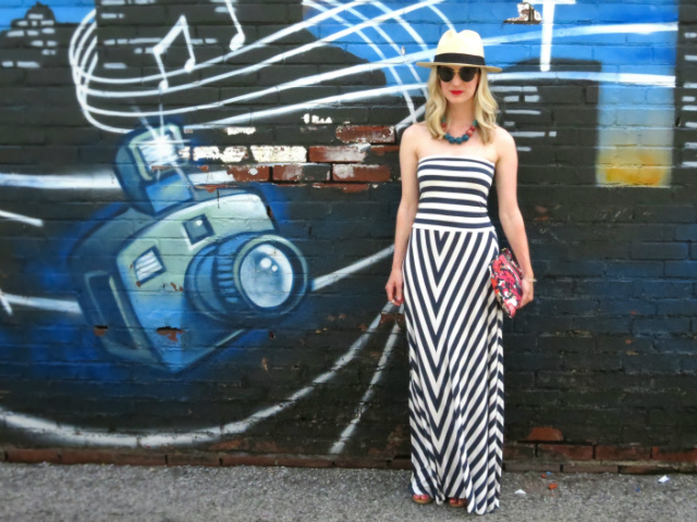 strapless maxi dress, c wonder floral clutch, j crew panama hat, report sandals, indianapolis style blog, ecofashion
