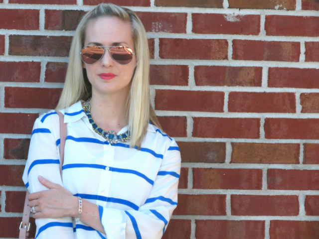 j crew popover, loft denim statement necklace, silver flats, forever 21 blush bag, pink mirrored ray ban aviators