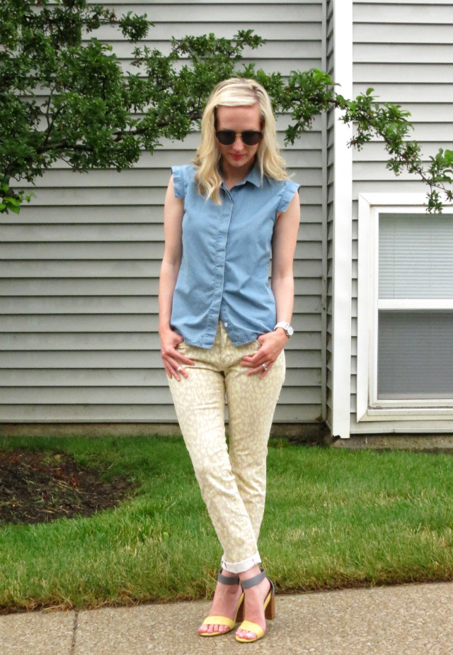 chinese laundry colorblock sandals, pastel patterned jeans, kate spade saturday chambray top