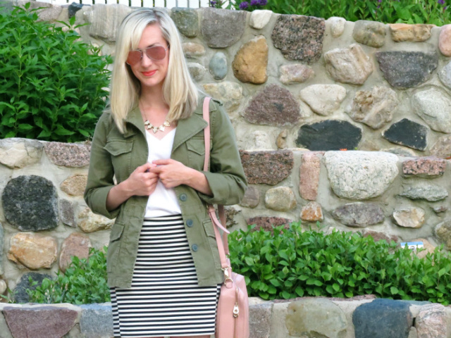 madewell army jacket, striped mini skirt, blush bag, forever 21 accessories, ray ban pink aviators, wardrobe staples, wardrobe remix
