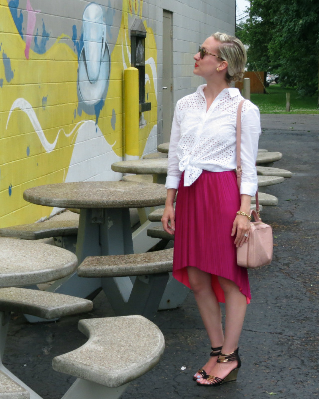 pleated high low skirt, eyelet shirt, braided updo, indianapolis style blog