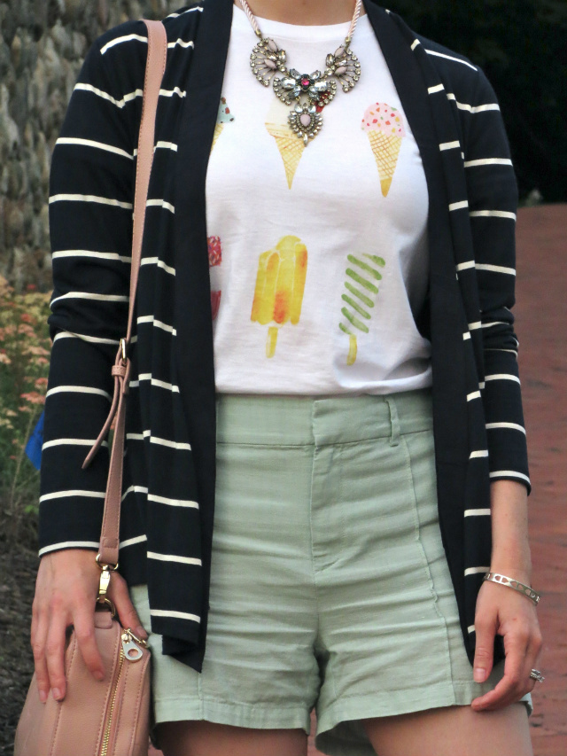 ice cream tee, striped cardigan, mint linen shorts, statement necklace