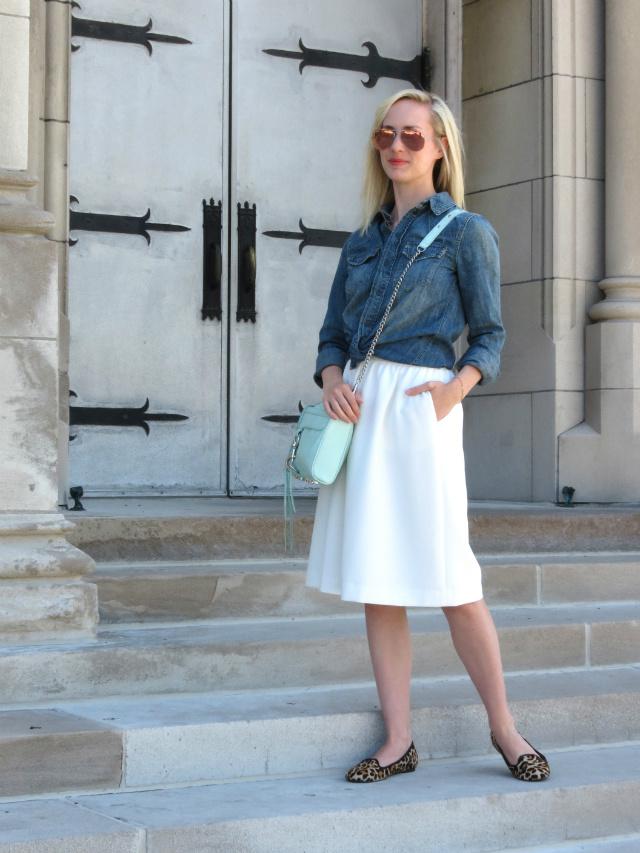 pinterest outfit inspiration, madewell chambray, white midi skirt, mint rebecca minkoff bag, leopard flats, ray ban pink mirrored aviators