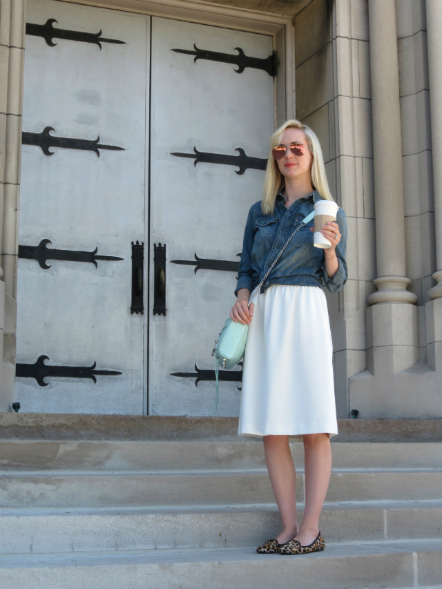 pinterest outfit inspiration, madewell chambray, white midi skirt, mint rebecca minkoff bag, leopard flats, ray ban pink mirrored aviators