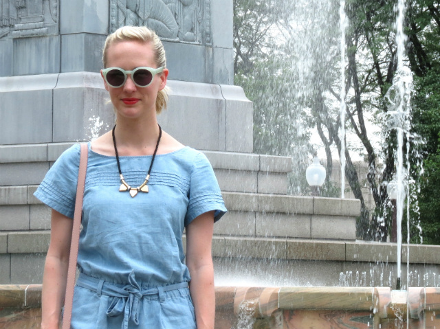 loft chambray romper, madewell hepcat sunglasses, indianapolis style blogger