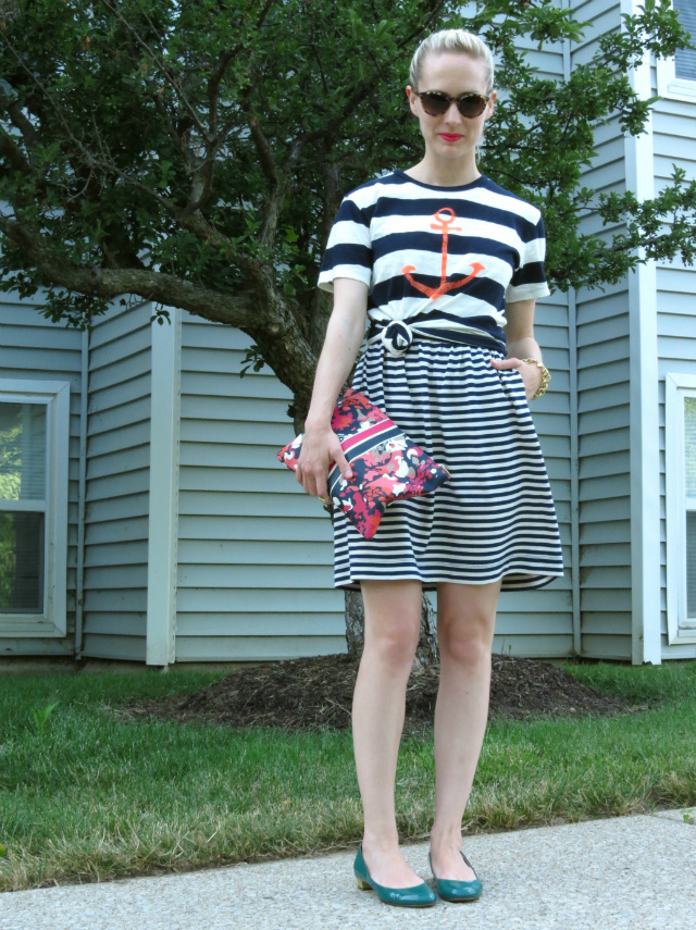 j crew anchor tee, tee over dress, mixing stripes, kate spade sunglasses, c wonder clutch