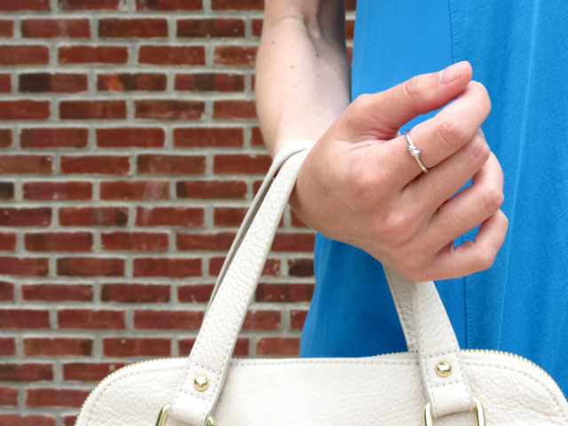 blue silk tee, white jeans, merona colorblock satchel, rose gold watch, kate spade knot ring