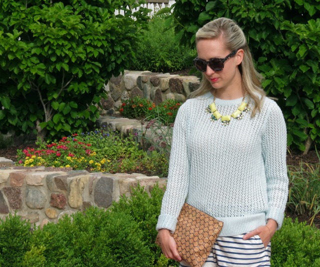 loft summer sweater, j crew striped shorts, max and chloe statement necklace, c wonder cork clutch