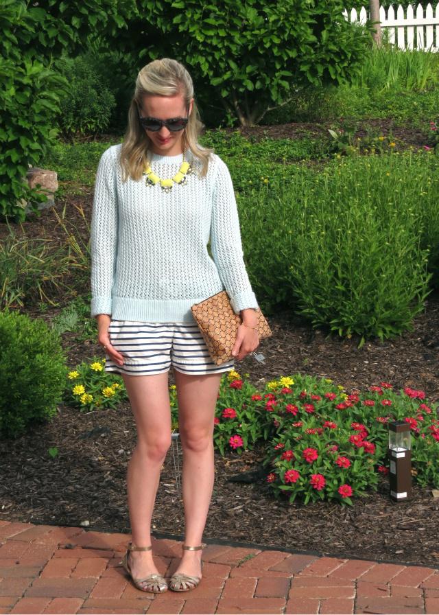 loft summer sweater, j crew striped shorts, max and chloe statement necklace, c wonder cork clutch
