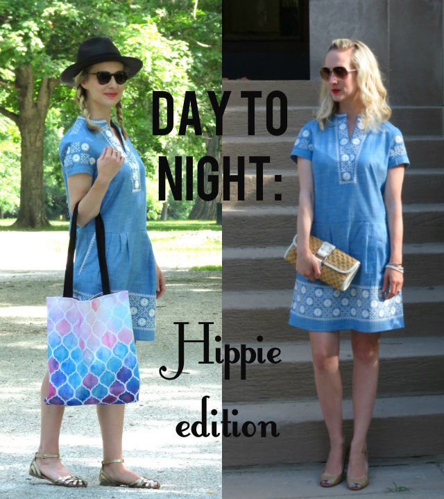 madewell sunstitch chambray dress, black panama hat, redbubble tote, indianapolis style blog