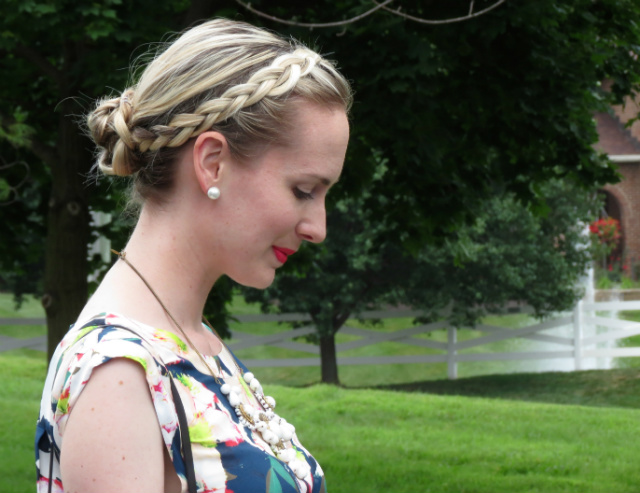 jeff koons for h&m, koons balloon dog, j crew cove floral, statement necklace, braided bun, jessica simpson nude pumps