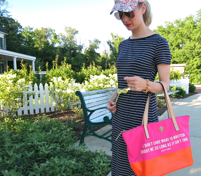 target striped maxi dress, j crew floral baseball cap, report tan sandals, kate spade dorothy parker bag, pink mirrored ray ban aviators