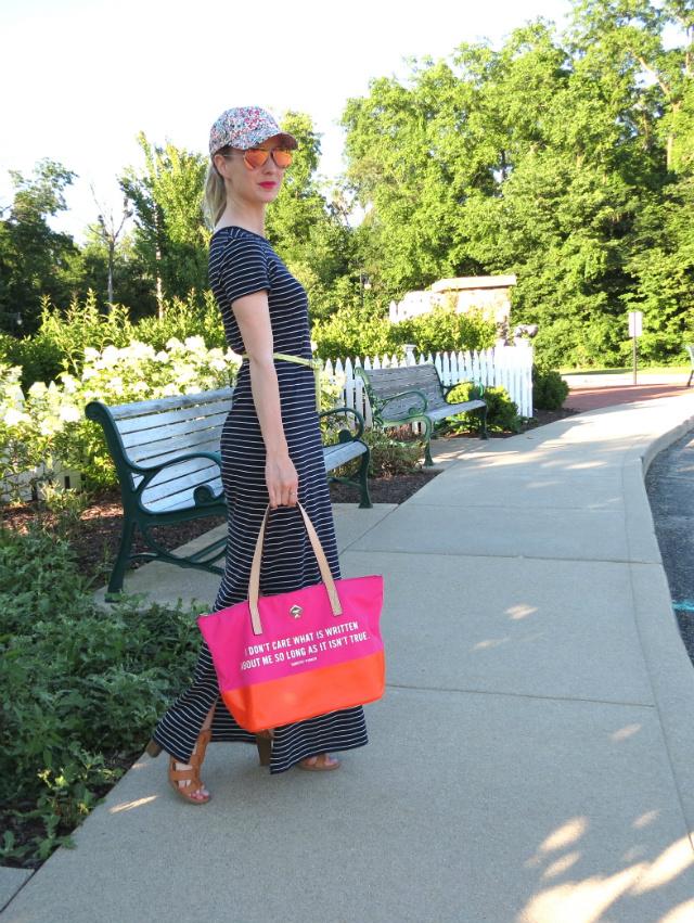 target striped maxi dress, j crew floral baseball cap, report tan sandals, kate spade dorothy parker bag, pink mirrored ray ban aviators