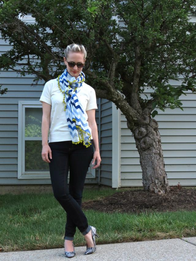 halogen summer scarf, embellished short sleeve sweatshirt, target snakeskin heels