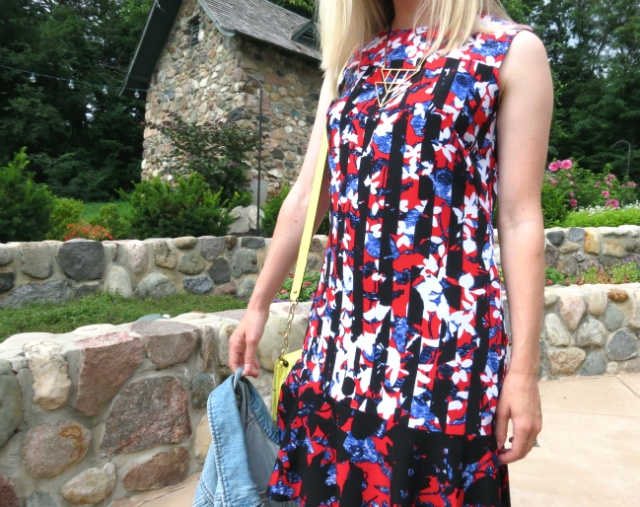 phillip lim for target, jean jacket, neon bag, shoemint flats, one dress 3 ways, target designer collab