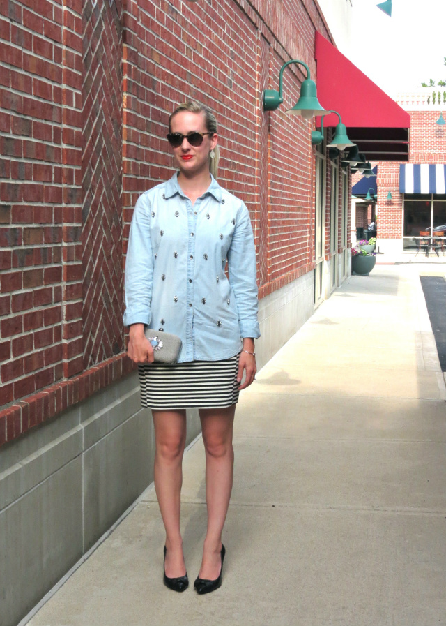 halogen embellished denim shirt, madewell striped mini skirt, bejeweled clutch, ann taylor bow pumps, indianapolis fashion blogger, saturday night outfit