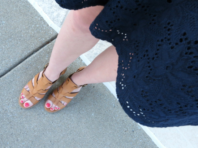 navy polka dot tee, flared skirt, report sandals, mint rebecca minkoff, statement jewelry