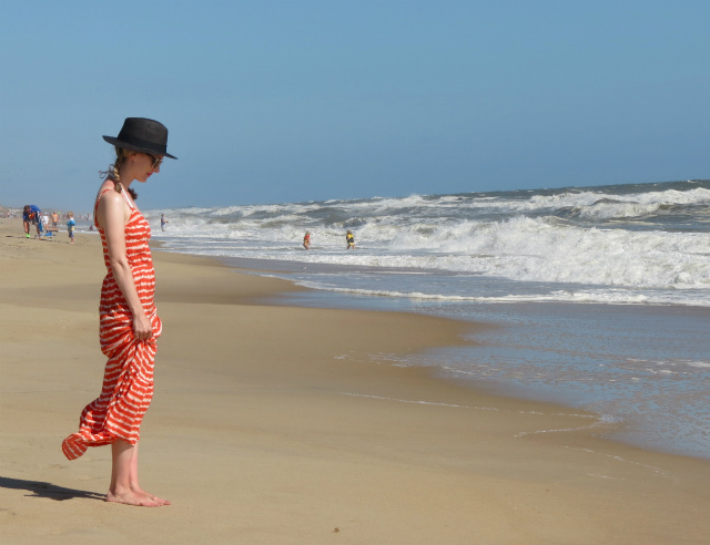 tie dye beach dress, black panama hat, clear sunglasses, outer banks, beach outfit