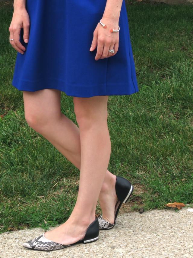 madewell parkline dress cobalt, mint belt, target d'orsay flats, fit and flare dress