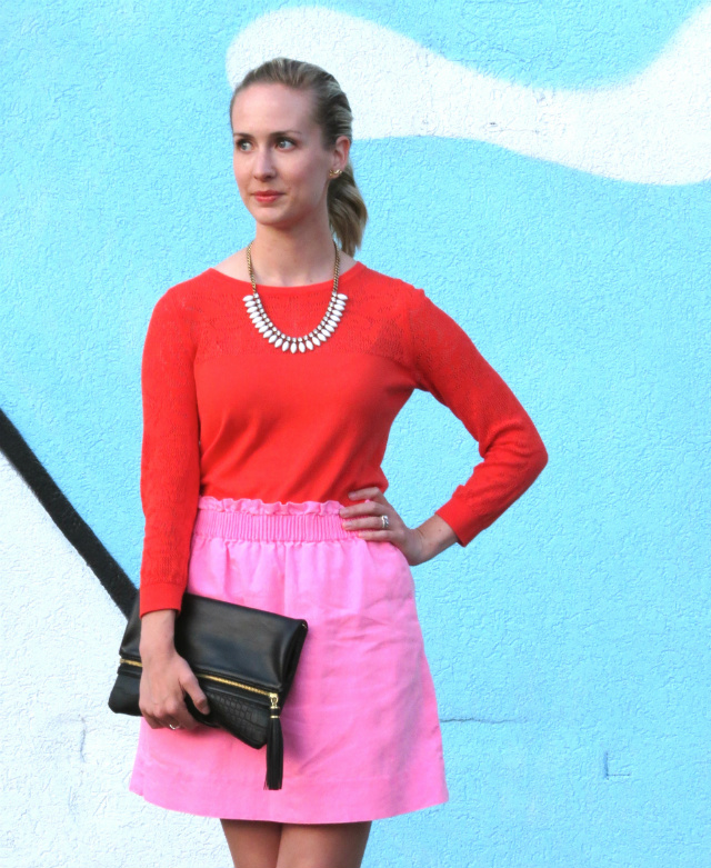 orange and pink, j crew factory linen mini skirt, cap toe flats, indianapolis style blog, indy fringe