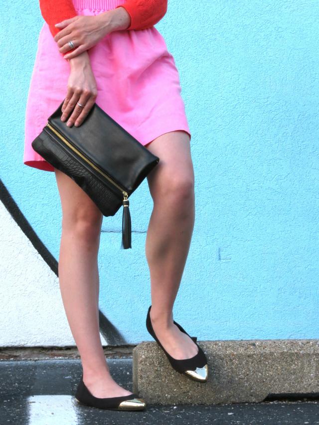 orange and pink, j crew factory linen mini skirt, cap toe flats, indianapolis style blog, indy fringe