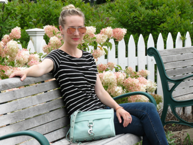 rebecca minkoff mac bag, pink mirrored ray ban aviators, target floral sneakers, american eagle jeggings