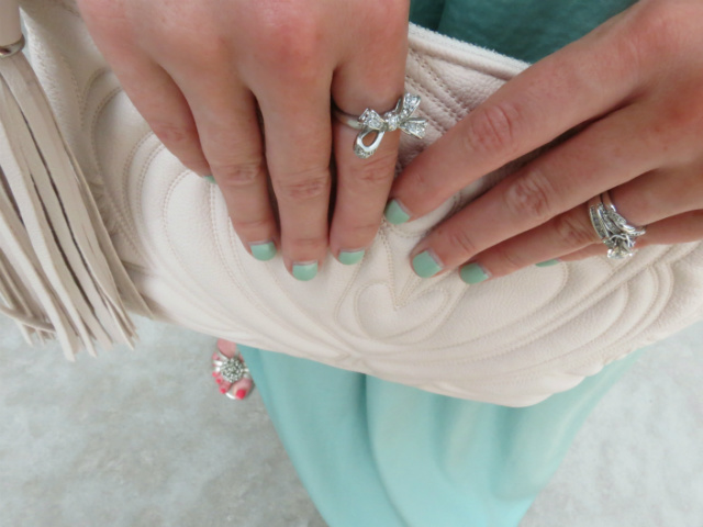mint maxi skirt, j crew cove floral top, blush clutch, pink mirrored ray bans, gold sandals, wedding guest attire