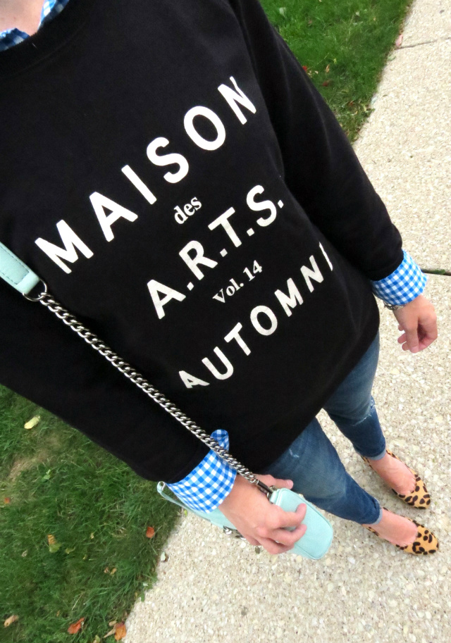 madewell french sweatshirt, j crew gingham shirt, joe's jeans, leopard pumps, rebecca minkoff mint bag, fall fashion 2014