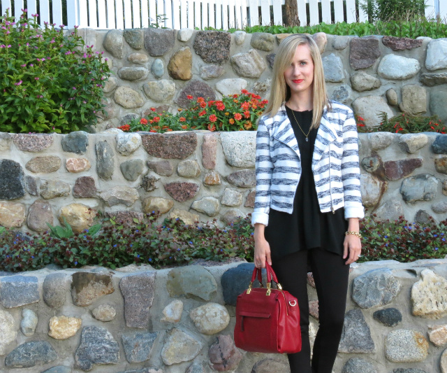 cropped sweater blazer, tunic, ponte pants, red d'orsay pumps