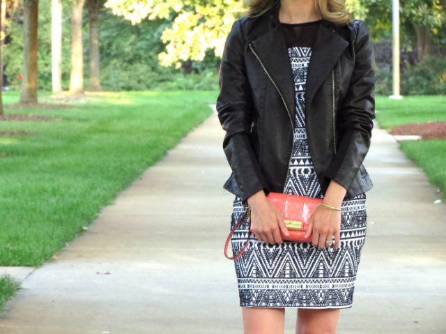 tribal print dress, express faux leather jacket, bow pumps, coach clutch
