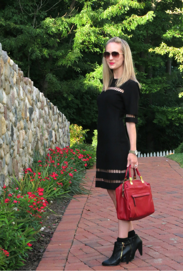 joa black sweater dress, red satchel, black ankle boots with socks