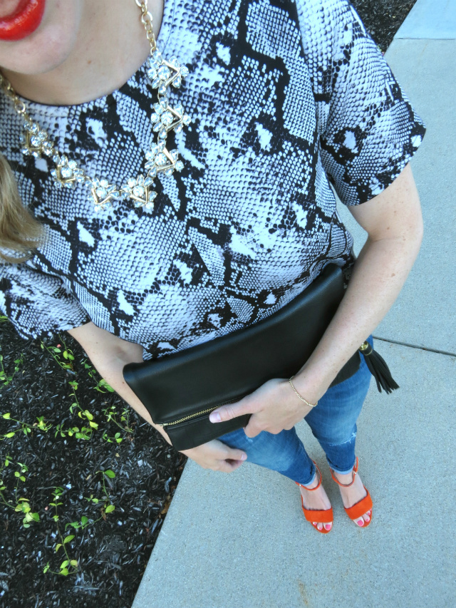snake print top, clear statement necklace, shoemint orange sandals, le tote review