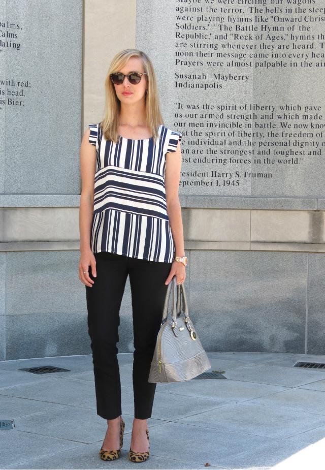 black and blue, striped top, skinny black pants, via spiga leopard pumps
