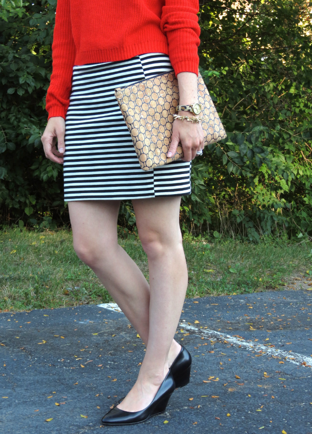 cropped sweater, striped mini skirt, low black wedges, pink ray ban aviators, spike bracelet, leopard watch