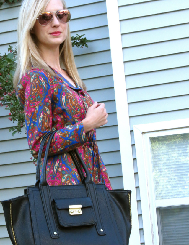 paisley dress, cobalt blue pumps, phillip lim for target tote, mirrored ray bans