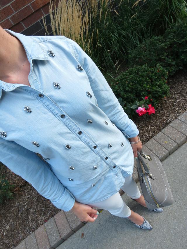 ann taylor white jeans, embellished chambray shirt, snakeskin pumps, silver satchel, fancy ponytail