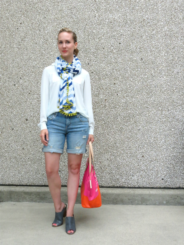 distressed jean shorts, marc jacobs pretzel earrings, steve madden mules, chevron scarf, kate spade tote