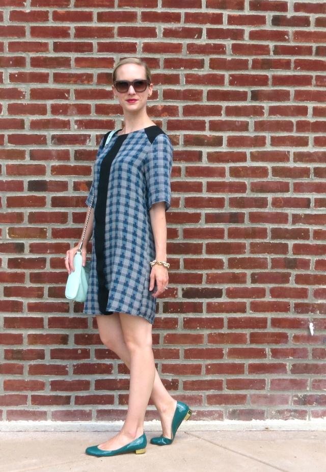 plaid shift dress, mint rebecca minkoff bag, patent flats, see eyewear sunglasses, chunky link bracelet