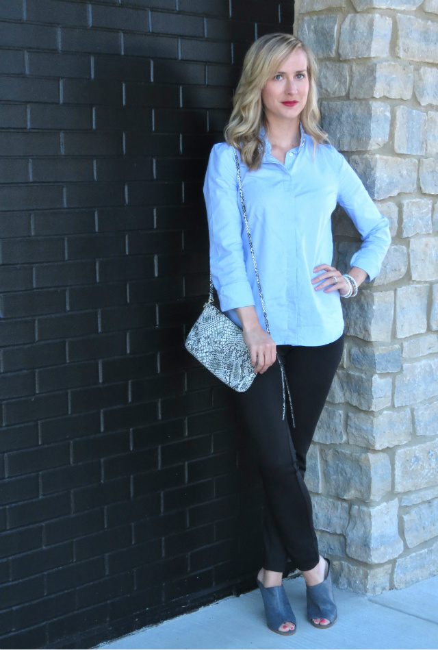 embellished collar shirt, black ponte pants, gray steven mules, snakeskin clutch, indianapolis blogger