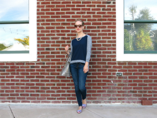 french connection colorblock hi-low sweater, american eagle jeggings, floral d'orsay flats, silver satchel