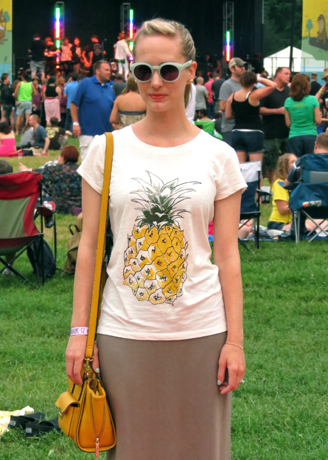 pineapple tee, maxi skirt, phillip lim for target bag, festival wear, warmfest