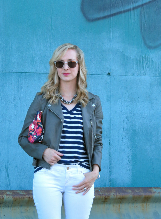 madewell striped tee, gray faux leather jacket, c wonder floral clutch, white jeans, shoemint silver flats