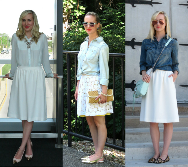 white skirts, outfit ideas